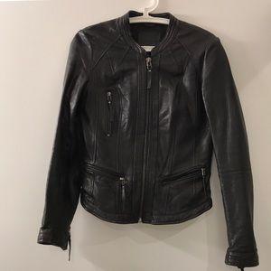 Bershka real leather black jacket.